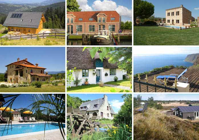 Collage of the top-rated holiday homes on atraveo