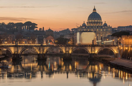 View of the Ponte Sant'Angelo and St Peter's Basilica