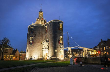 The old fortified tower at the entrance to Enkhuizen's harbour