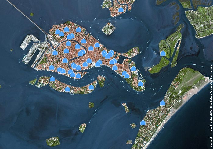 Holiday homes in Venice in a satellite image