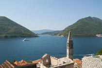 beautiful view across Perast and the bay
