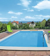You can enjoy the view of Lake Balaton directly from the pool of this holiday home.